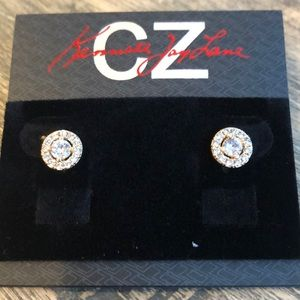 Two Toned Cubic Zirconia Stud Earrings